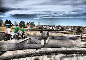 Wide angle view of the Thornton, CO skate park.